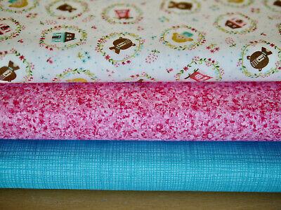 Moda Paquete de Tela Patchwork 3 X 25x110CM, Home Sweet Con Turquesa...