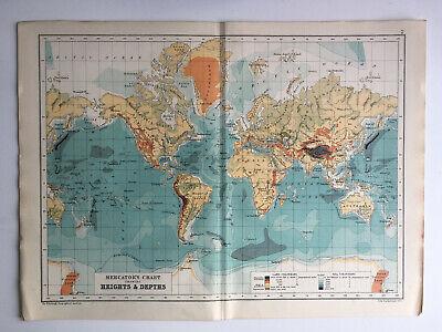 Map Of The World Mercators Chart Heights Antique 1910 John Bartholomew & Co