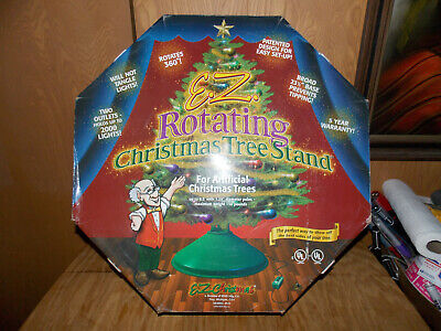 E.Z. Rotating Christmas Tree Stand Turns 360 Degree 2 Outlets & Orig Box 1/21