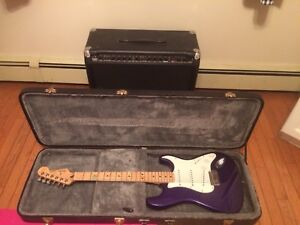Fender stratocaster with solid case and amp