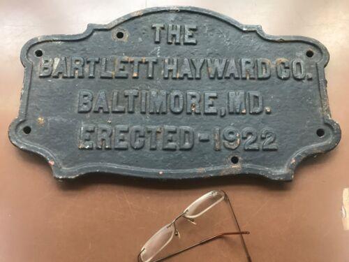 Vintage Bartlett Hayward cast iron name plaque name plate