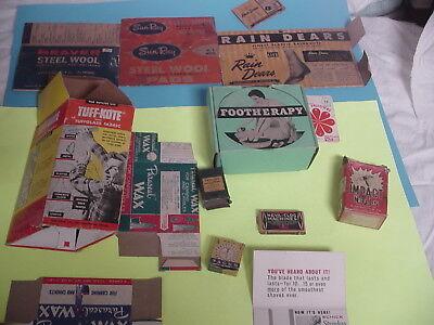 Vintage packaging boxes for wax, steel wool, rain overshoes, nails, staples, etc
