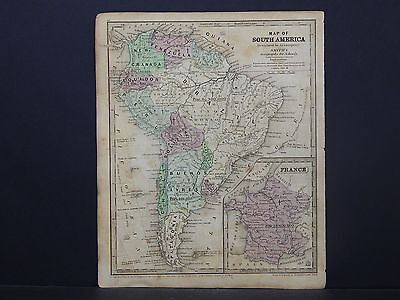 South America, Inset is France Antique Map 1843 Smith's Geography R9#70