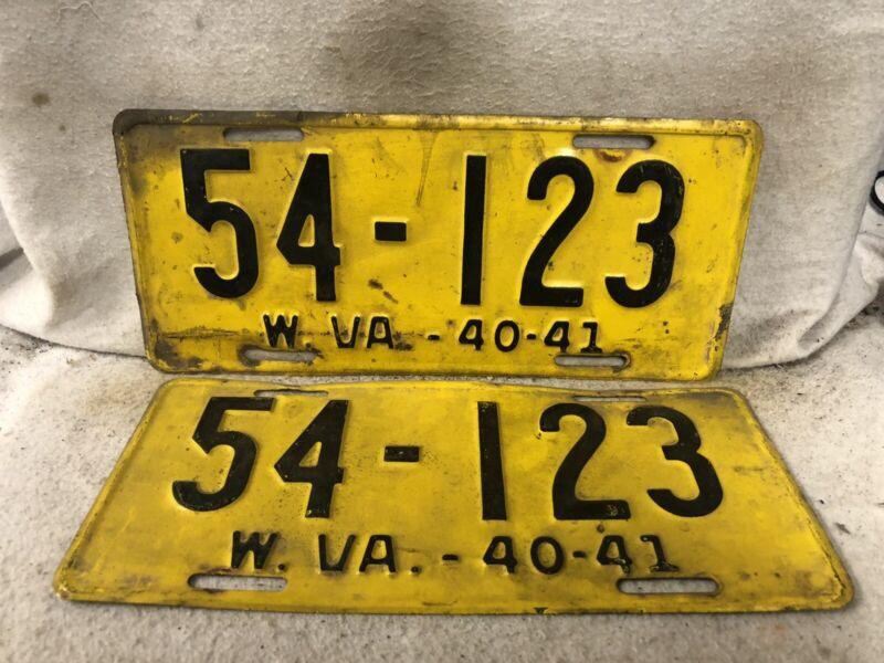 Vintage 1940 West Virginia License Plate Pair