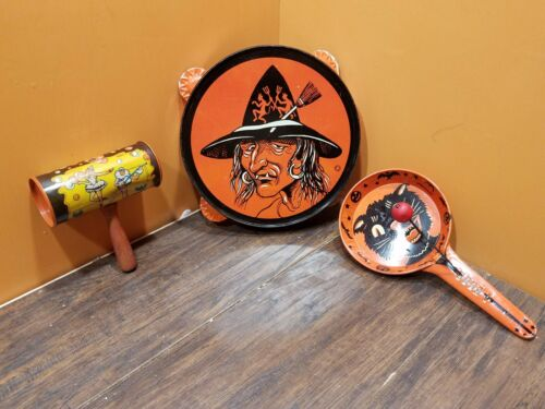 T Cohn Tin Snaggle Tooth Witch Cat Tambourine NoiseMaker Rattler Halloween Toy