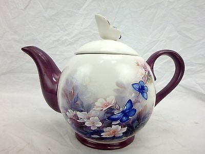 Lena Lui Blossoms And Butterflies Tea Pot Purple Butterfly Lid