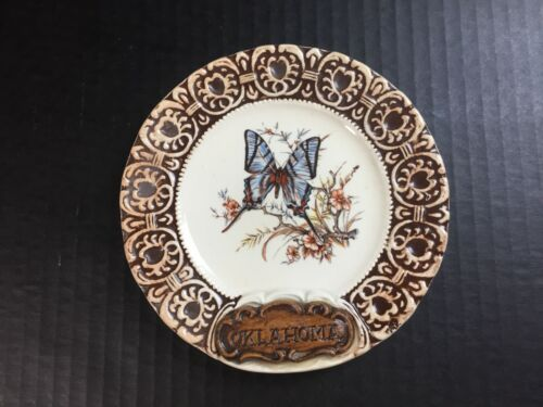 """6"""" Vintage Oklahoma State Souvenir Collector Wall Plate Swallowtail Butterfly"""