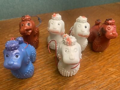 VINTAGE Blow Mold Poodle Ornament Lot of 6 - Made in Hong Kong - Rare Collection