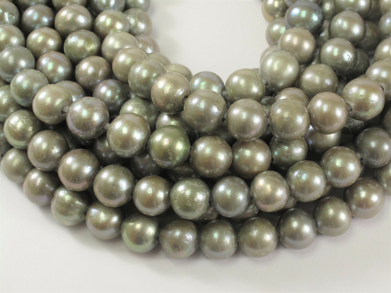 Large Hole Freshwater Pearl Silver//Gray Color Potato Shape Size 11-12mm #50