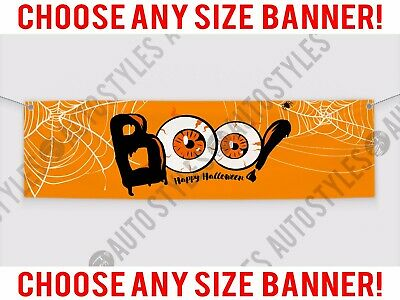 Boo Signs For Halloween (BOO! Happy Halloween! Vinyl Banner Sign for Business Party Store Spiders)