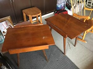 Two matching mid century modern style end tables