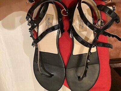 Valentino Rockstud Accents Leather T-strap sandals 39size Pre-owned