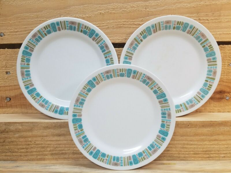 3 Vintage Texaswear Atomic Mayan Melmac Melamine Salad Plates