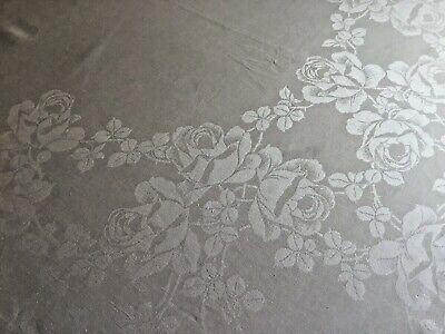 "Vintage Medium-Weight White ELEGANT TEA ROSE Damask Linen Tablecloth, 86"" by 72"""