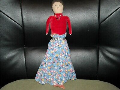 Vintage NAVAJO Cloth Indian DOLL Woman Handmade Hand Sewn Face drawn Beaded sack for sale  Boise