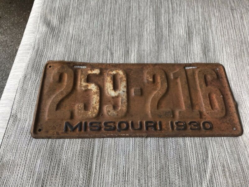 1930 MISSOURI LICENSE PLATE 259 216