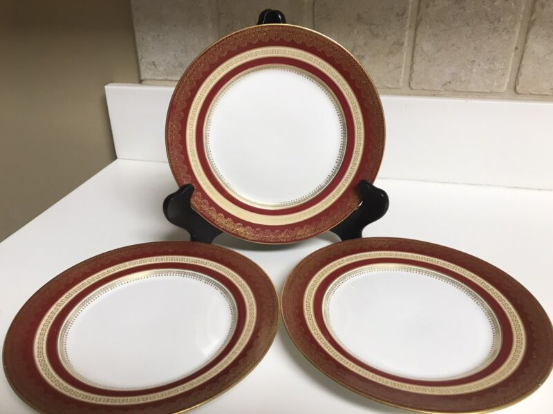 Wm Guerin & Co Limoges Red and Gold Banded Salad Plates