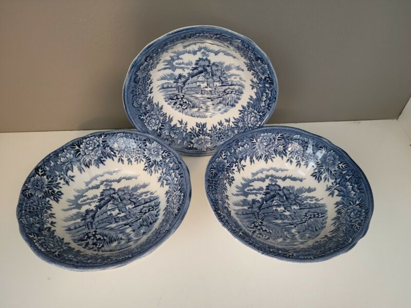 "3 VTG 6"" BLUE ENGLISH COLONIAL VILLAGE~SALEM CHINA CO. OLDE STAFFORDSHIRE  BOWLS"