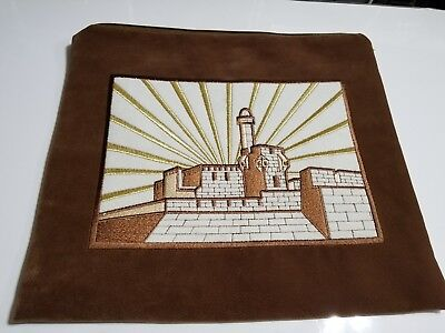 tallit bag- Ultra Suede with Jerusalem Background Embroidery. Gold /Brown