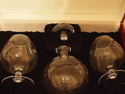 Moser Fine Clear Crystal Decanter and Brandy Snifter Glasses Set Clear Crystal Brandy