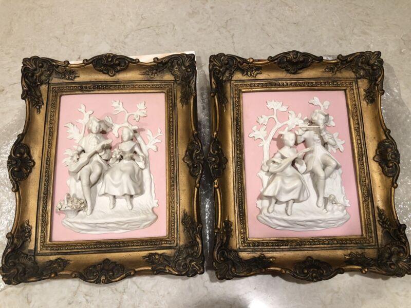 Friedrich Wessel Frankenthal Jasperware Porcelain Bisque Plaque Framed Lot Of 2