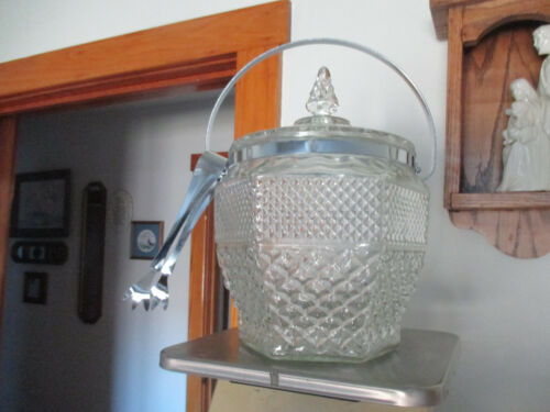 VINTAGE 1960s Glass Anchor Hocking Wexford Ice Bucket w Lid & Tongs