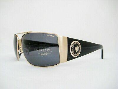 new authentic VERSACE Sunglasses VE2163 100281 Gold/Grey Polarized 63mm
