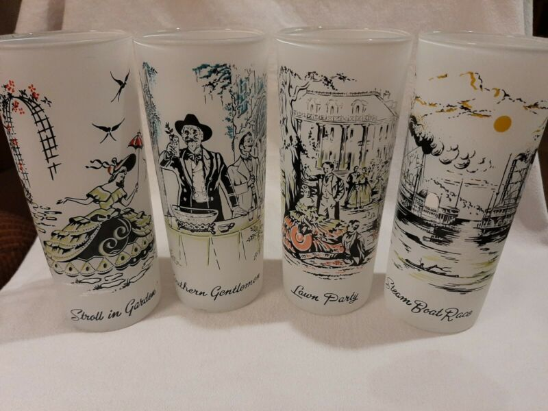 Vintage Libbey PLANTATION SCENES Frosted 16 oz Tall Tumblers Glasses  6.5""