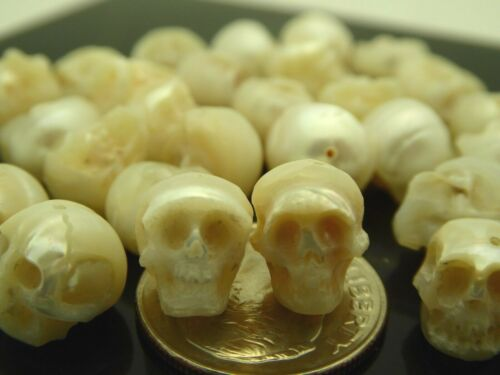 Skull White Pearl Bead Hand Carved Intricate Detail Second Quality One Piece