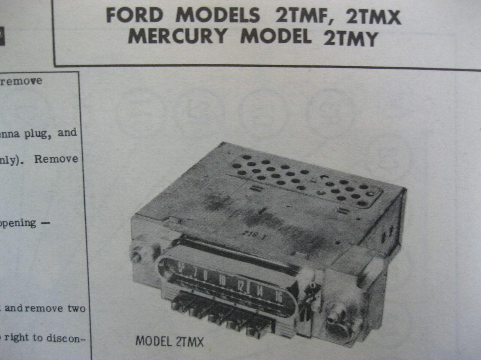 1962 FORD 2TMF, GALAXIE 2TMX, MERCURY METEOR 2TMY RADIO PHOTOFACT