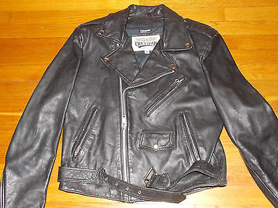 1990's Black Leather Motorcycle Bike Jacket Men's Size 42 w/ Thinsulate (Used)