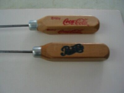 Vintage Coca Cola & Pepsi Cola Advertising Wooden Handled Ice Picks.