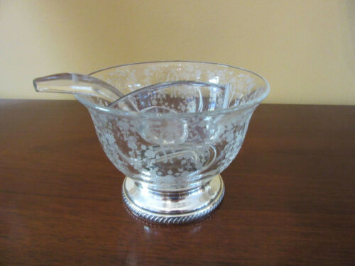 Vintage Cambridge Diane, 2 Part Mayo Bowl with Ladle, Sterling Base, Cat Rescue