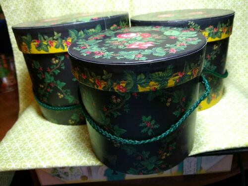 Waverly  Creative Papers Holly Ivy Roses Set of 3 Christmas Hatboxes Stacking