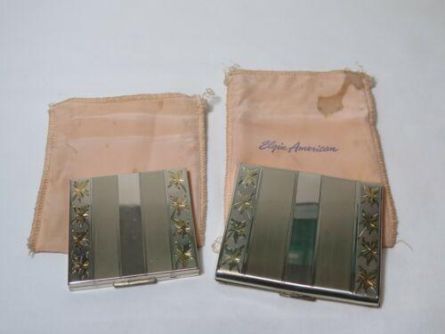 Vintage Elgin Sterling Silver Cigarette Case & Compact Case Gold Leaf Design