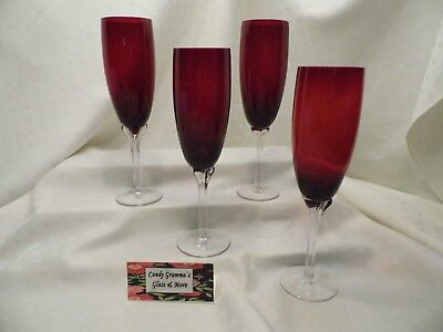 Ruby Red Champagne Flute Petal Wrap Set of Four