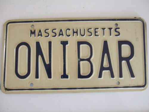 MASSACHUSETTS PERSONALIZED LICENSE PLATE   ONIBAR   NICE CONDITION