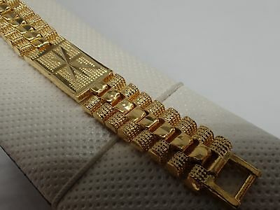 Men Jewellery 18K Yellow gold Solid Diamond cut Watch band Women bracelet 8 inch
