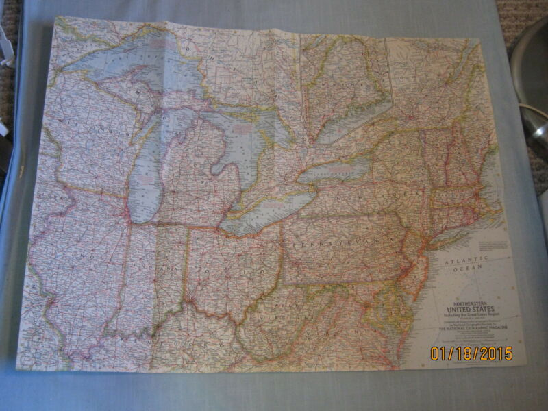 VINTAGE NORTHEASTERN UNITED STATES MAP + GREAT LAKES National Geographic 1959