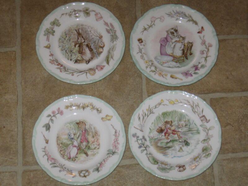4 World of Beatrix Potter Teatime Collection Bread Plates Jemima Jeremy Ben Tom