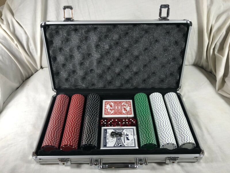 Poker Chip Set, 300 Chips, 2 Decks, 5 Dice