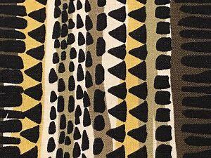 Fabric African Jungle Jive Stripe Rasta Colors Mustard on Cotton 1/4 Yard