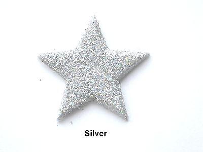 15 X EDIBLE SILVER FONDANT GLITTER STARS. CAKE DECORATIONS - MEDIUM 3cm