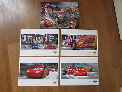 """DISNEY STORE """"CARS 2"""" SET OF 4 LITHOGRAPHS PRINTS """"BRAND NEW"""""""