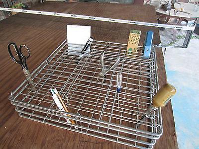 Vtg Desk Office Supply Organizer Chrome Wire Basket Steampunk Industrial Art Big