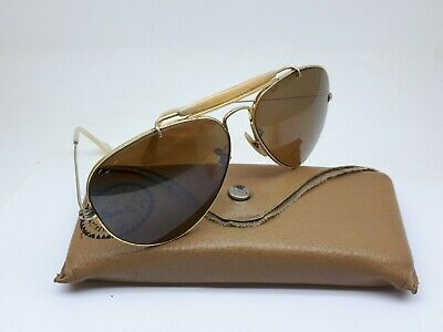 VINTAGE B&L BAUSCH AND LOMB RAY BAN AVIATOR SUNGLASSES BROWN B&L LENSES U.S.A (Ray Ban Gold And Brown Aviators)