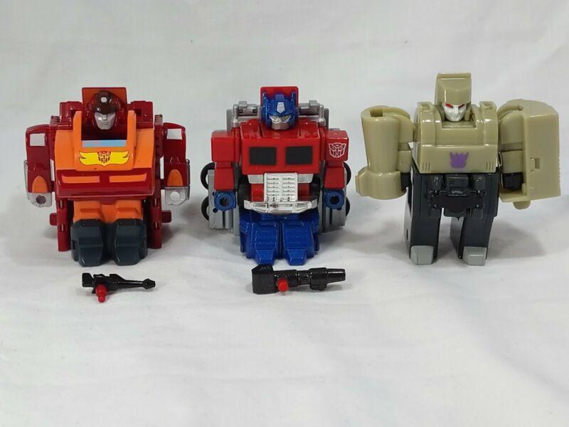 "Takara Transformers Choro Q Megatron, Optimus Prime, Rodimus Prime 3"" Figure Lot"