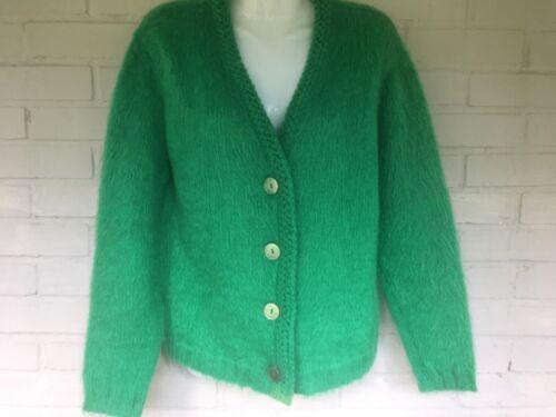 Vintage 1960s M Kelly Green Fuzzy Mohair Blend Cardigan Womens Medium Garland
