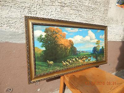 Art Dèco***Antikes Bild Art Heiligenbild Gold-Rahmen Schäfer m.Schafherde a.See