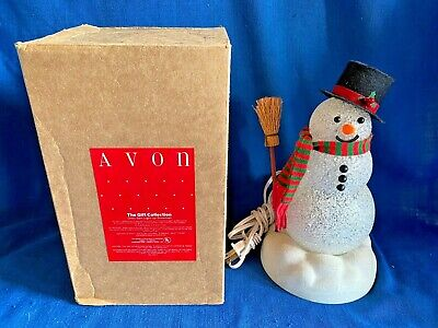 Vintage Avon Chilly Sam Light Up Plug-In Color Changing Snowman Tested Works+Box